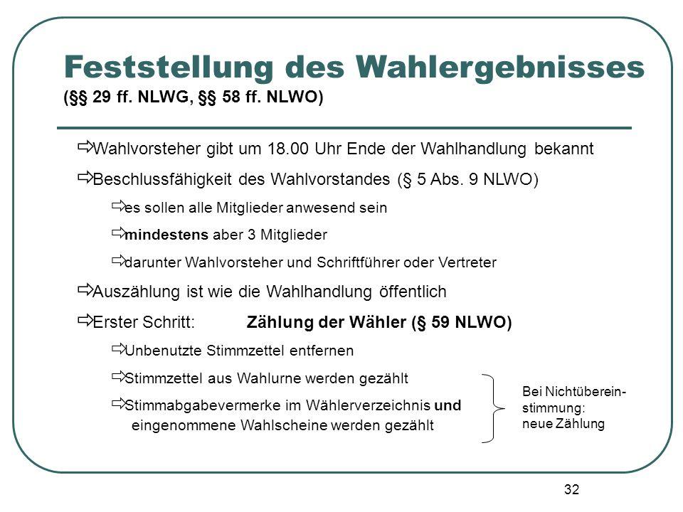 32 Wahlvorsteher gibt um 18.00 Uhr Ende der Wahlhandlung bekannt Beschlussfähigkeit des Wahlvorstandes (§ 5 Abs. 9 NLWO) es sollen alle Mitglieder anw
