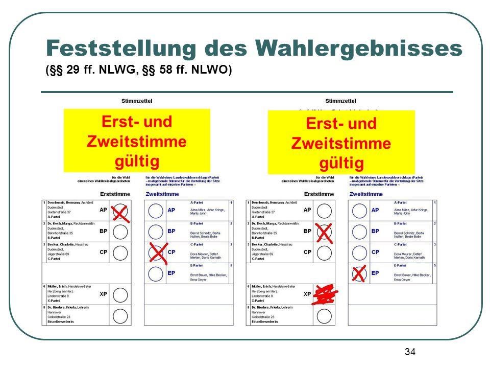 34 Feststellung des Wahlergebnisses (§§ 29 ff. NLWG, §§ 58 ff. NLWO) Erst- und Zweitstimme gültig