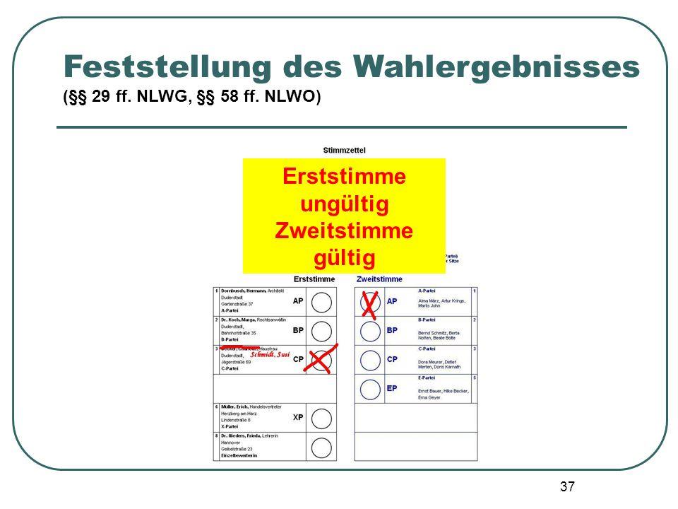 37 Feststellung des Wahlergebnisses (§§ 29 ff. NLWG, §§ 58 ff. NLWO) Erststimme ungültig Zweitstimme gültig