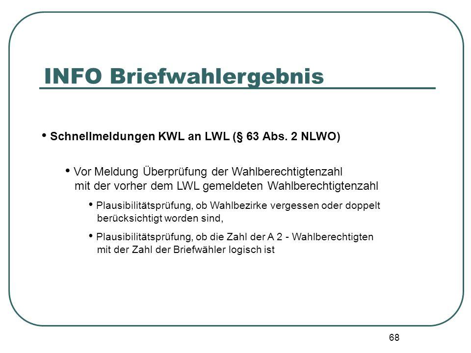 68 Schnellmeldungen KWL an LWL (§ 63 Abs. 2 NLWO) Vor Meldung Überprüfung der Wahlberechtigtenzahl mit der vorher dem LWL gemeldeten Wahlberechtigtenz
