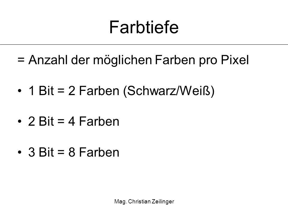 Mag. Christian Zeilinger Farbtiefe = Anzahl der möglichen Farben pro Pixel 1 Bit = 2 Farben (Schwarz/Weiß) 2 Bit = 4 Farben 3 Bit = 8 Farben