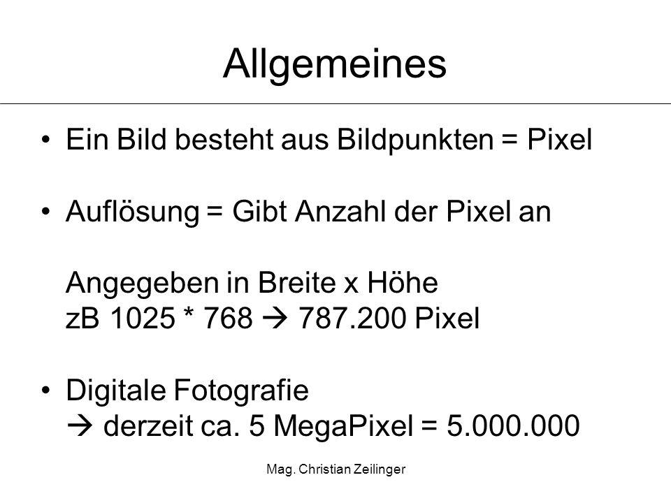 Mag. Christian Zeilinger Allgemeines Ein Bild besteht aus Bildpunkten = Pixel Auflösung = Gibt Anzahl der Pixel an Angegeben in Breite x Höhe zB 1025