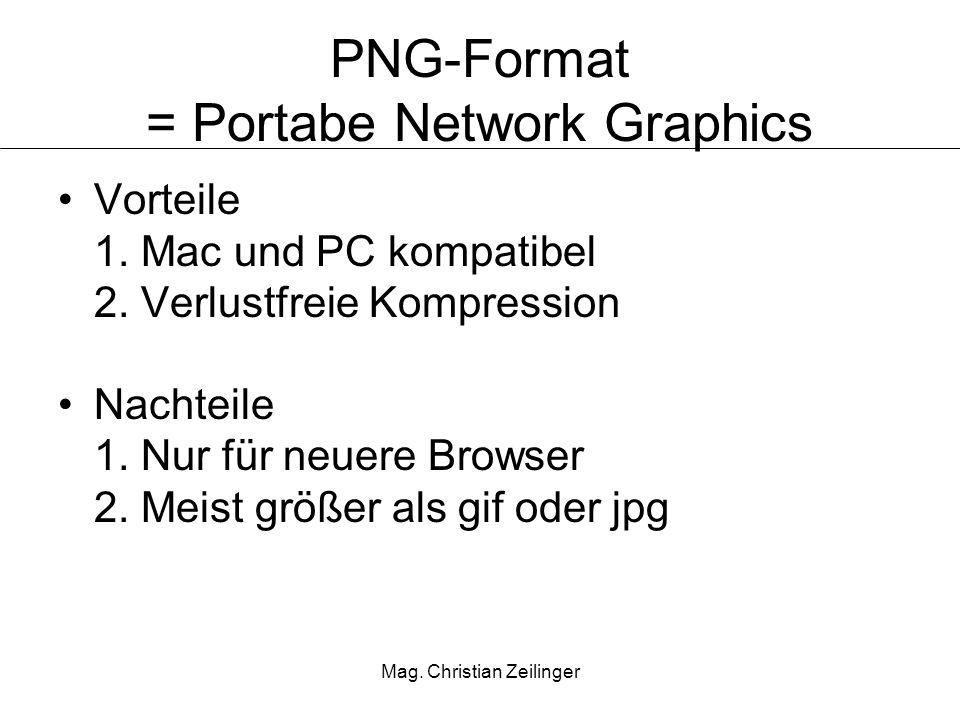 Mag.Christian Zeilinger PNG-Format = Portabe Network Graphics Vorteile 1.