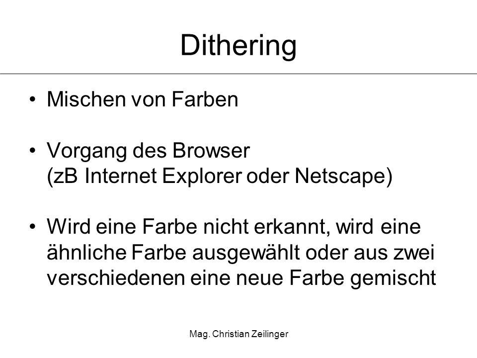 Mag. Christian Zeilinger Dithering Mischen von Farben Vorgang des Browser (zB Internet Explorer oder Netscape) Wird eine Farbe nicht erkannt, wird ein