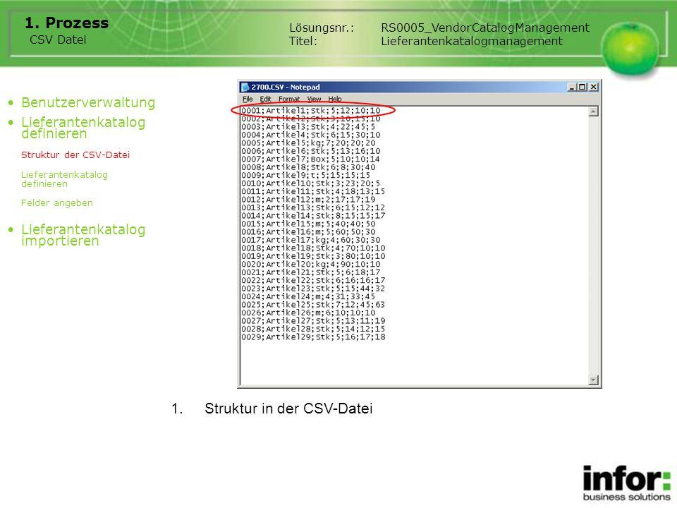 1.Struktur in der CSV-Datei 1.