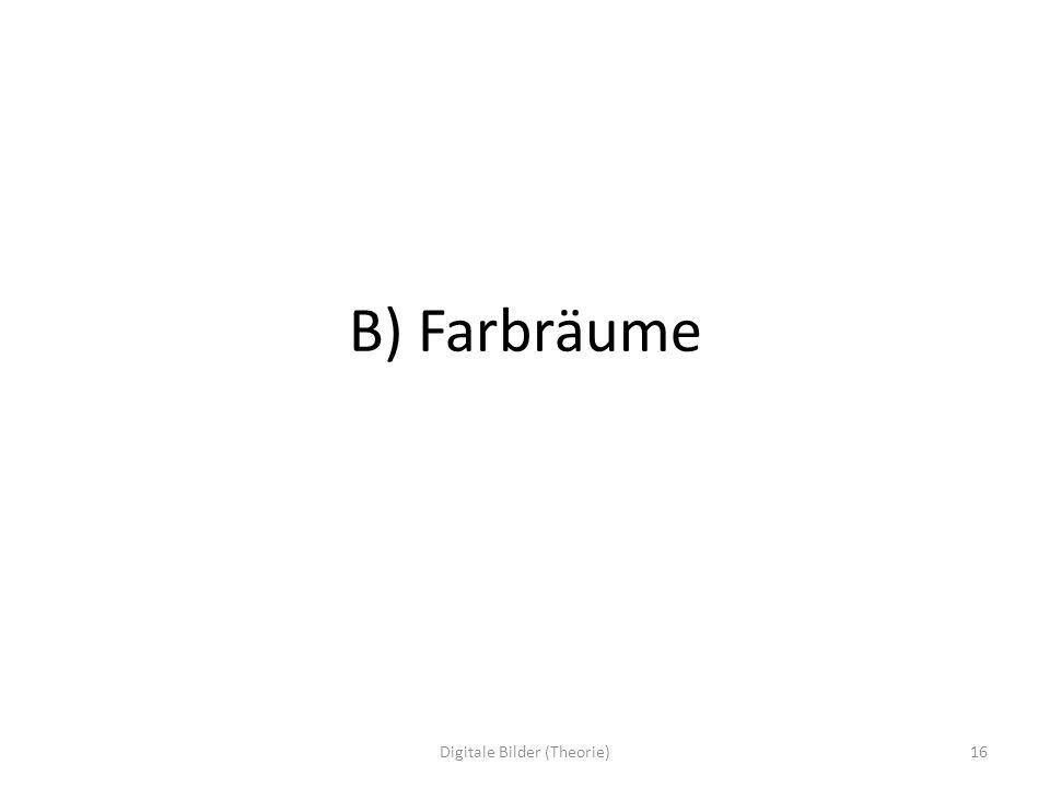 B) Farbräume 16Digitale Bilder (Theorie)