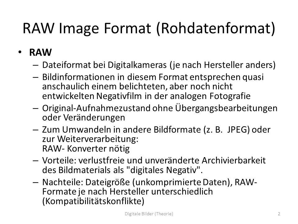 RAW Image Format (Rohdatenformat) RAW – Dateiformat bei Digitalkameras (je nach Hersteller anders) – Bildinformationen in diesem Format entsprechen qu