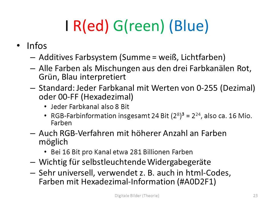 I R(ed) G(reen) (Blue) Infos – Additives Farbsystem (Summe = weiß, Lichtfarben) – Alle Farben als Mischungen aus den drei Farbkanälen Rot, Grün, Blau