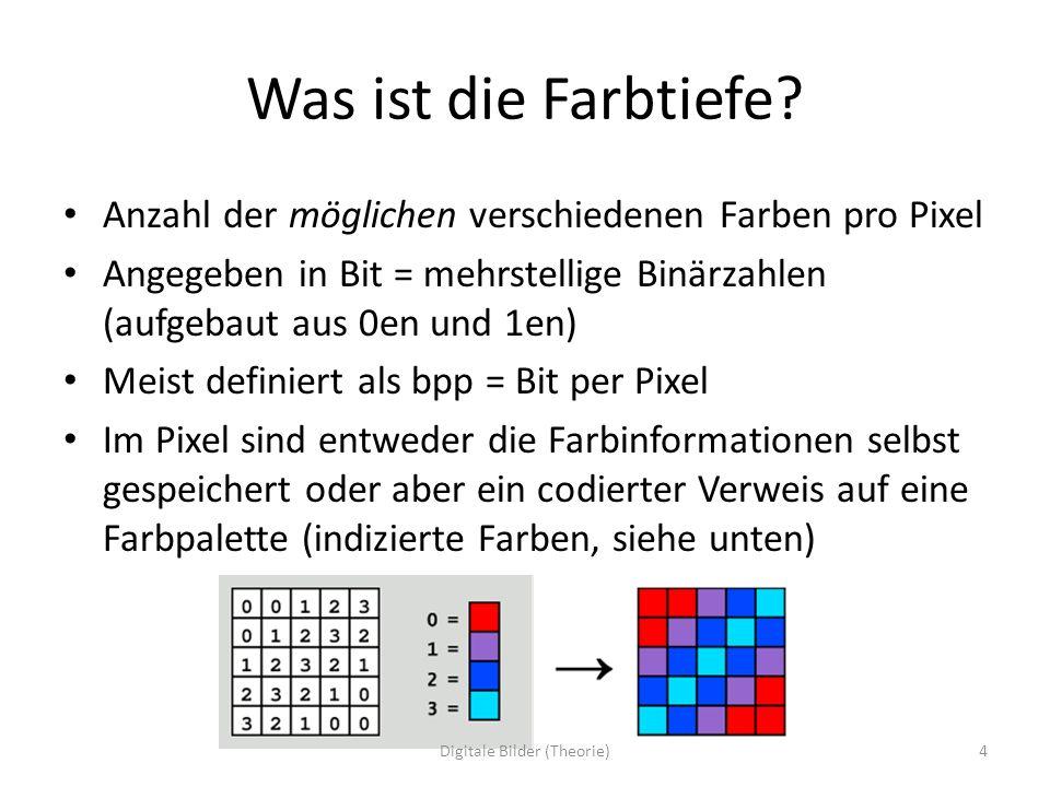Was ist die Farbtiefe? Anzahl der möglichen verschiedenen Farben pro Pixel Angegeben in Bit = mehrstellige Binärzahlen (aufgebaut aus 0en und 1en) Mei