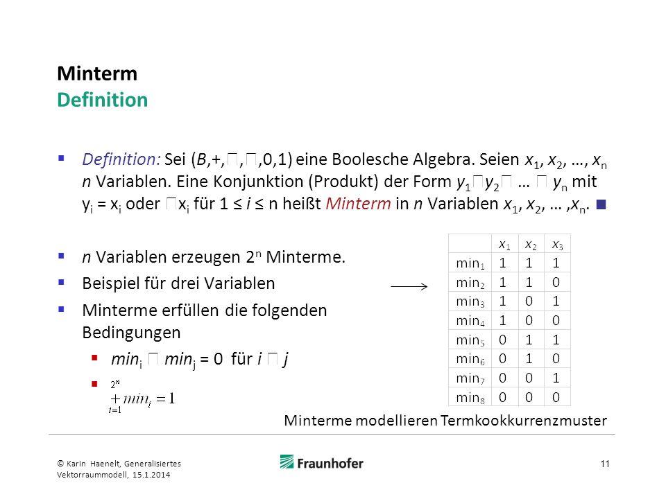 Minterm Definition Definition: Sei (B,+,,,0,1) eine Boolesche Algebra. Seien x 1, x 2, …, x n n Variablen. Eine Konjunktion (Produkt) der Form y 1 y 2