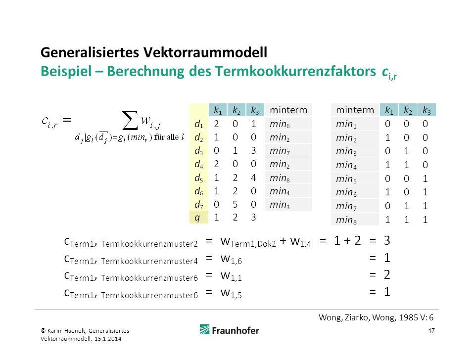 Generalisiertes Vektorraummodell Beispiel – Berechnung des Termkookkurrenzfaktors c i,r 17 © Karin Haenelt, Generalisiertes Vektorraummodell, 15.1.201