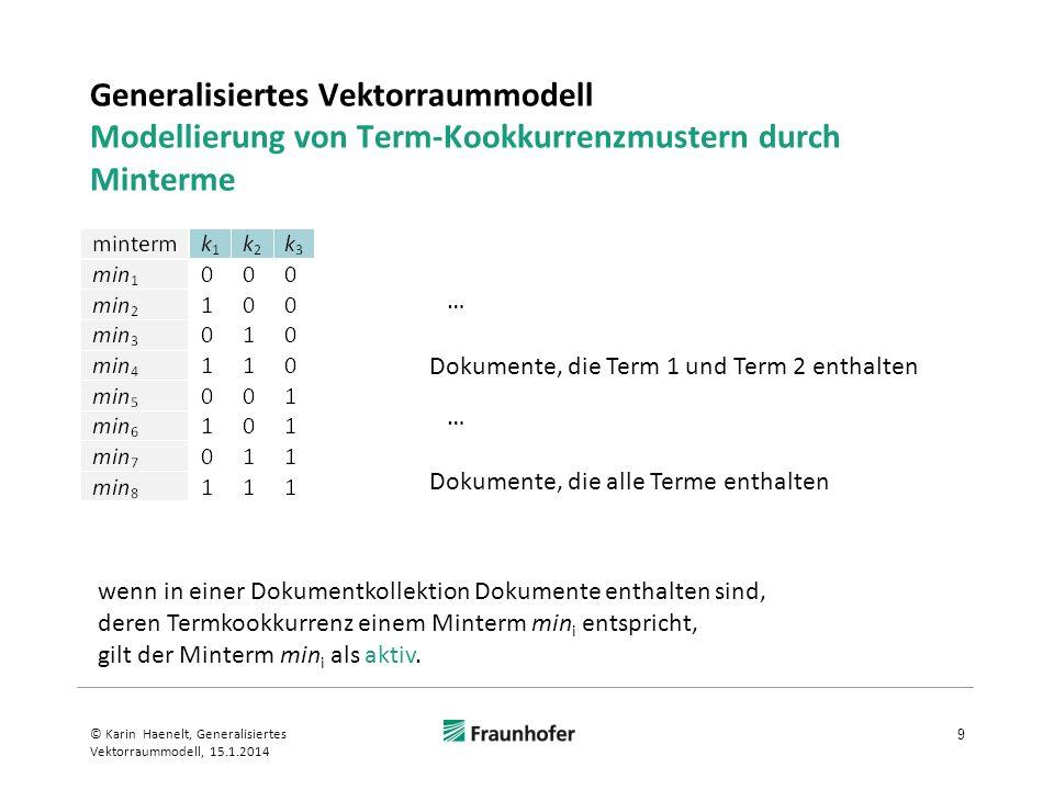 Generalisiertes Vektorraummodell Modellierung von Term-Kookkurrenzmustern durch Minterme 9 © Karin Haenelt, Generalisiertes Vektorraummodell, 15.1.201