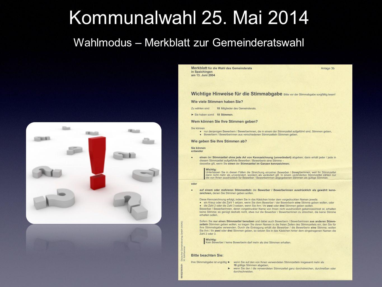 Kommunalwahl 25. Mai 2014 Wahlmodus – Merkblatt zur Gemeinderatswahl