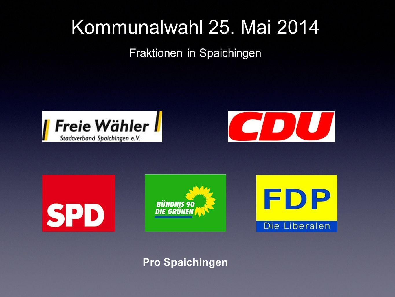Pro Spaichingen Kommunalwahl 25. Mai 2014 Fraktionen in Spaichingen
