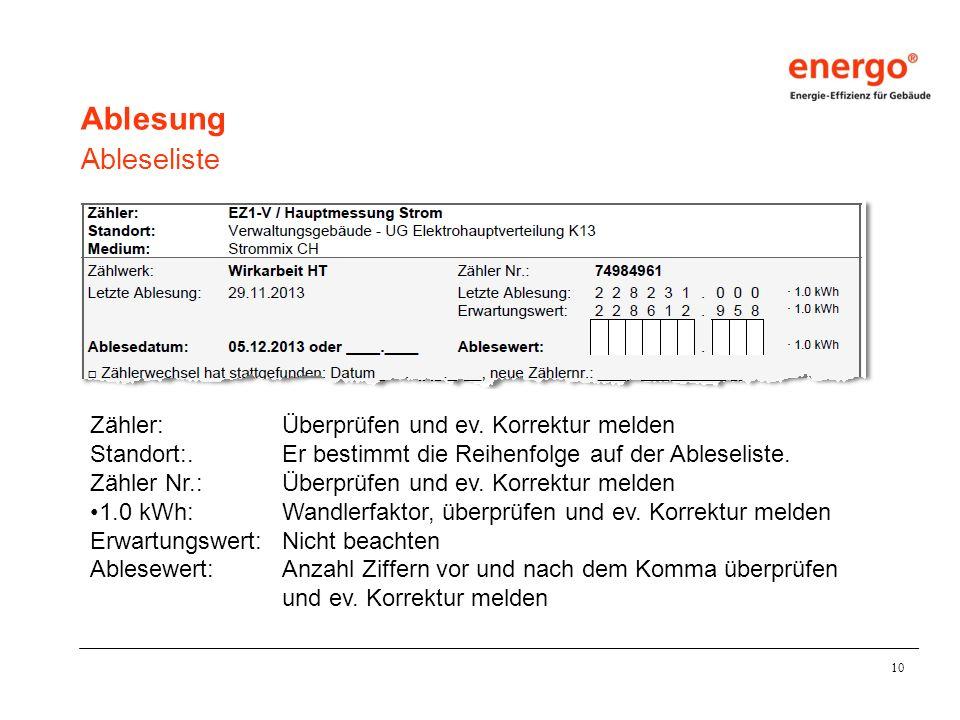 10 Ablesung Ableseliste Zähler:Überprüfen und ev.Korrektur melden Standort:.