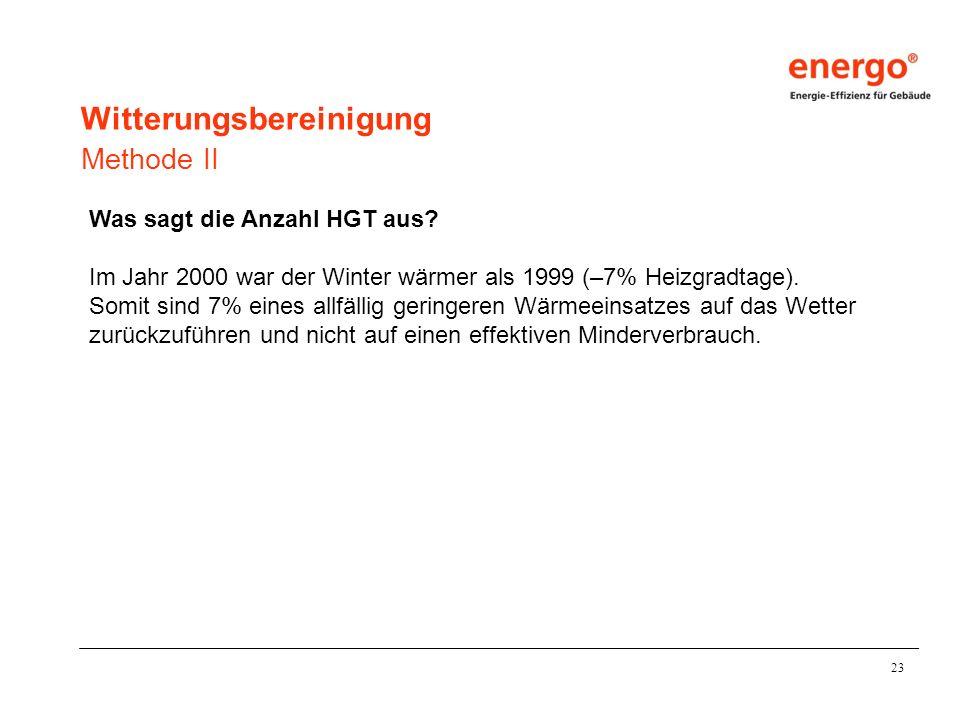 23 Was sagt die Anzahl HGT aus.Im Jahr 2000 war der Winter wärmer als 1999 (–7% Heizgradtage).