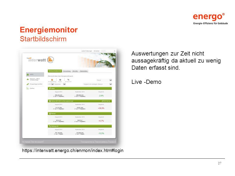 27 Energiemonitor Startbildschirm https://interwatt.energo.ch/enmon/index.htm#login Auswertungen zur Zeit nicht aussagekräftig da aktuell zu wenig Daten erfasst sind.