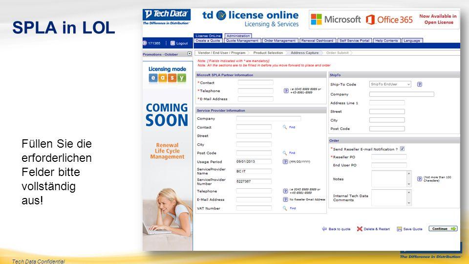 Tech Data Confidential SPLA in LOL Klicken Sie auf Submit Order (Auftrag einreichen)