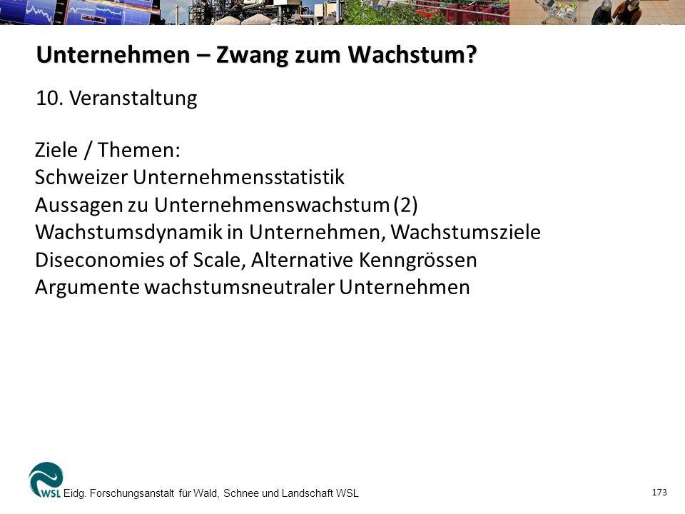 Unternehmen – Zwang zum Wachstum? Eidg. Forschungsanstalt für Wald, Schnee und Landschaft WSL 173 Ziele / Themen: Schweizer Unternehmensstatistik Auss