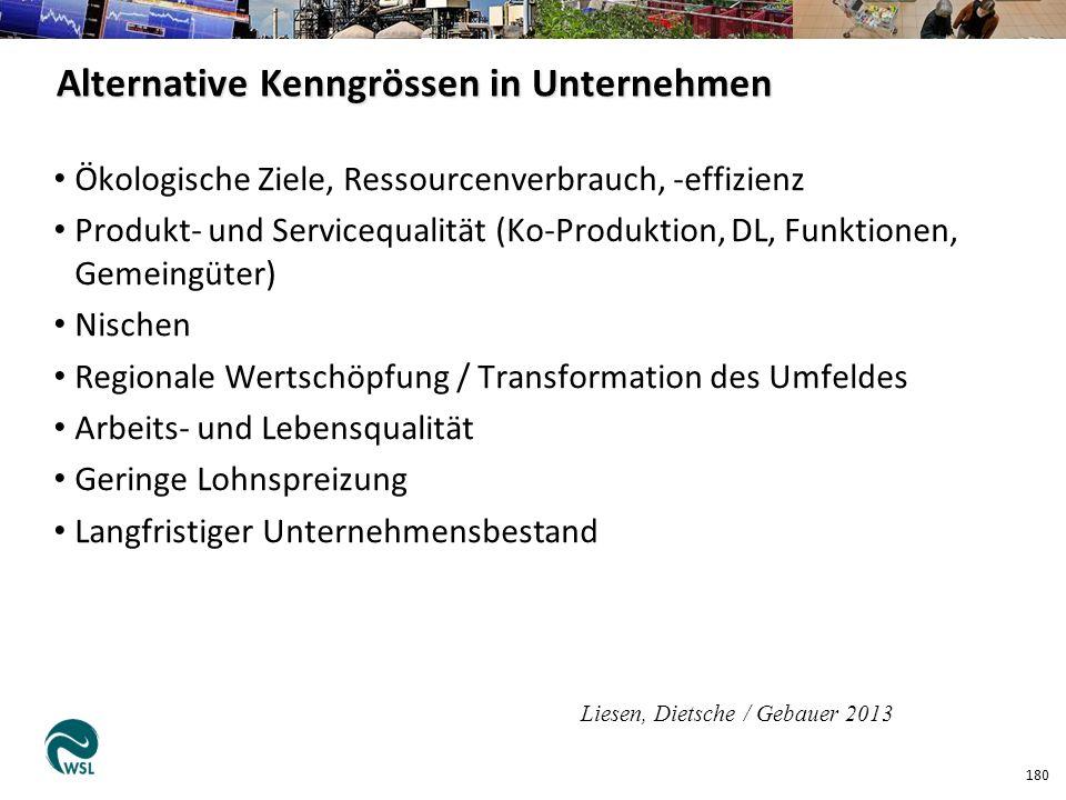 Ökologische Ziele, Ressourcenverbrauch, -effizienz Produkt- und Servicequalität (Ko-Produktion, DL, Funktionen, Gemeingüter) Nischen Regionale Wertsch