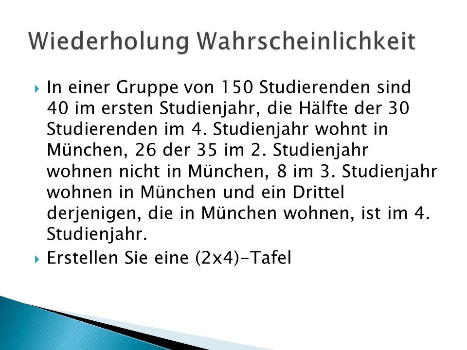 In einer Gruppe von 150 Studierenden sind 40 im ersten Studienjahr, die Hälfte der 30 Studierenden im 4. Studienjahr wohnt in München, 26 der 35 im 2.