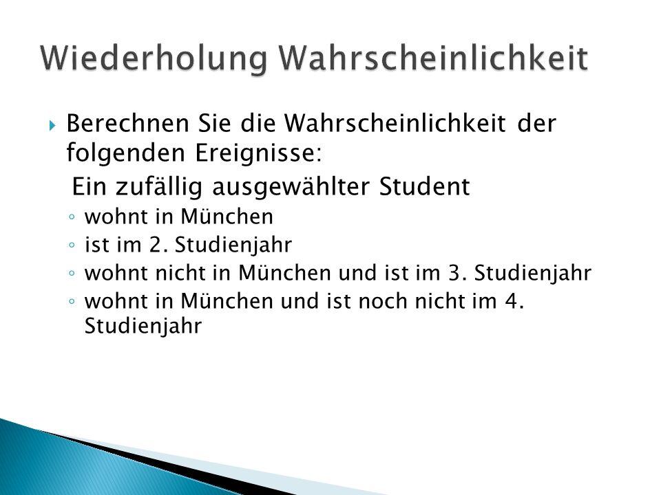 Berechnen Sie die Wahrscheinlichkeit der folgenden Ereignisse: Ein zufällig ausgewählter Student wohnt in München ist im 2. Studienjahr wohnt nicht in