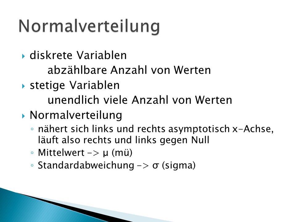 diskrete Variablen abzählbare Anzahl von Werten stetige Variablen unendlich viele Anzahl von Werten Normalverteilung nähert sich links und rechts asym
