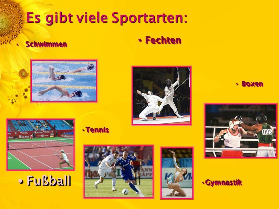Es gibt viele Sportarten: Fechten Fechten Fußball Fußball Boxen Boxen SchwimmenSchwimmen GymnastikGymnastik TennisTennis