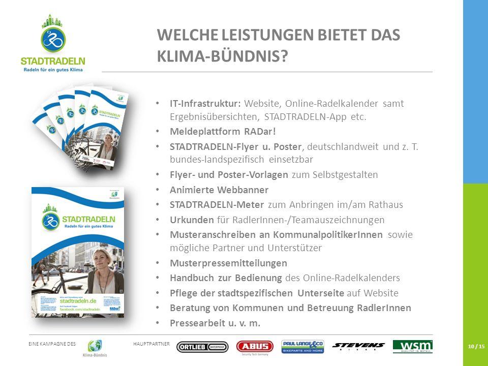 HAUPTPARTNER EINE KAMPAGNE DES 10 / 15 IT-Infrastruktur: Website, Online-Radelkalender samt Ergebnisübersichten, STADTRADELN-App etc.