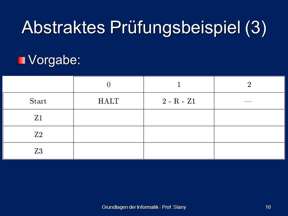 Abstraktes Prüfungsbeispiel (3) Vorgabe: Grundlagen der Informatik - Prof. Slany 10