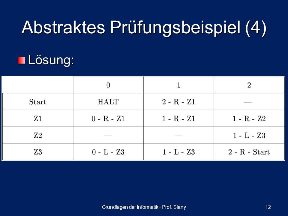 Abstraktes Prüfungsbeispiel (4) Lösung: Grundlagen der Informatik - Prof. Slany 12