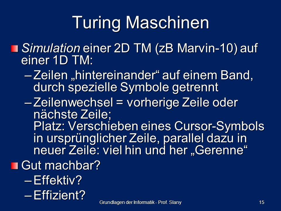 Simulation einer 2D TM (zB Marvin-10) auf einer 1D TM: –Zeilen hintereinander auf einem Band, durch spezielle Symbole getrennt –Zeilenwechsel = vorherige Zeile oder nächste Zeile; Platz: Verschieben eines Cursor-Symbols in ursprünglicher Zeile, parallel dazu in neuer Zeile: viel hin und her Gerenne Gut machbar.