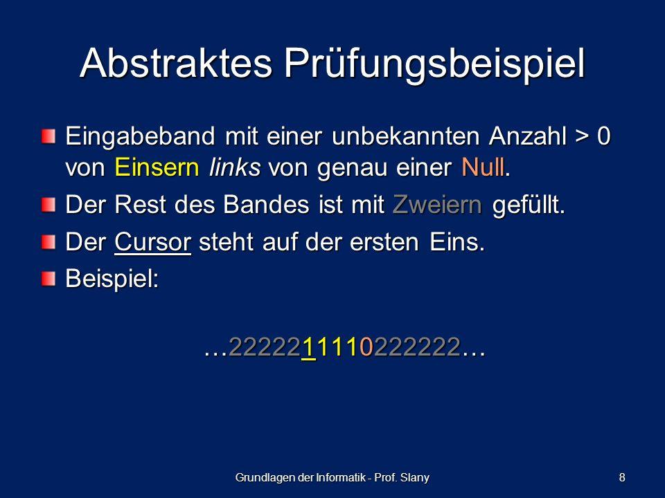 Abstraktes Prüfungsbeispiel Eingabeband mit einer unbekannten Anzahl > 0 von Einsern links von genau einer Null.