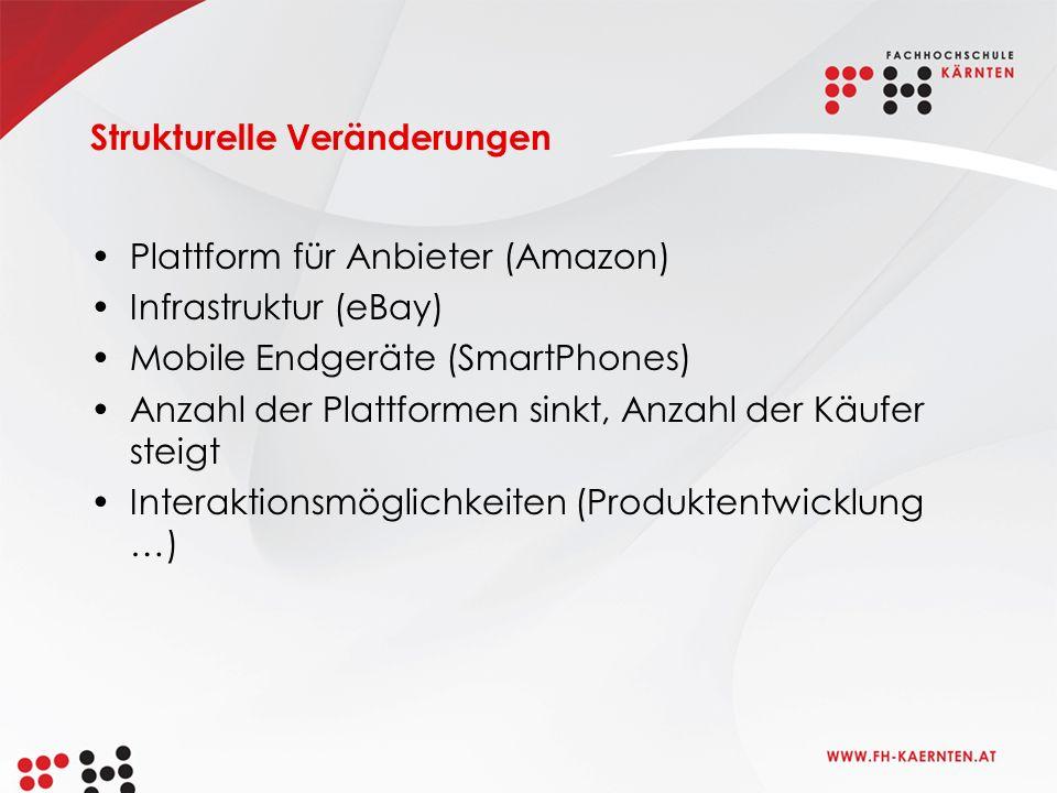 Strukturelle Veränderungen Plattform für Anbieter (Amazon) Infrastruktur (eBay) Mobile Endgeräte (SmartPhones) Anzahl der Plattformen sinkt, Anzahl der Käufer steigt Interaktionsmöglichkeiten (Produktentwicklung …)