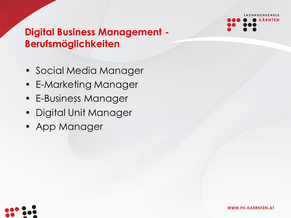 Digital Business Management - Berufsmöglichkeiten Social Media Manager E-Marketing Manager E-Business Manager Digital Unit Manager App Manager
