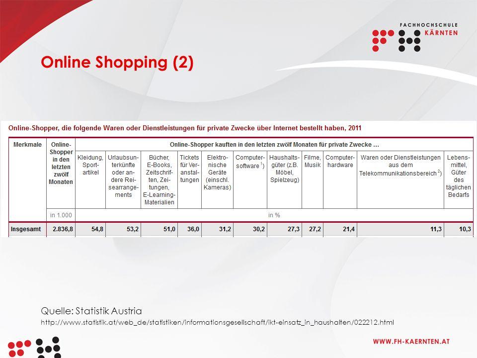 Online Shopping (2) Quelle: Statistik Austria http://www.statistik.at/web_de/statistiken/informationsgesellschaft/ikt-einsatz_in_haushalten/022212.html