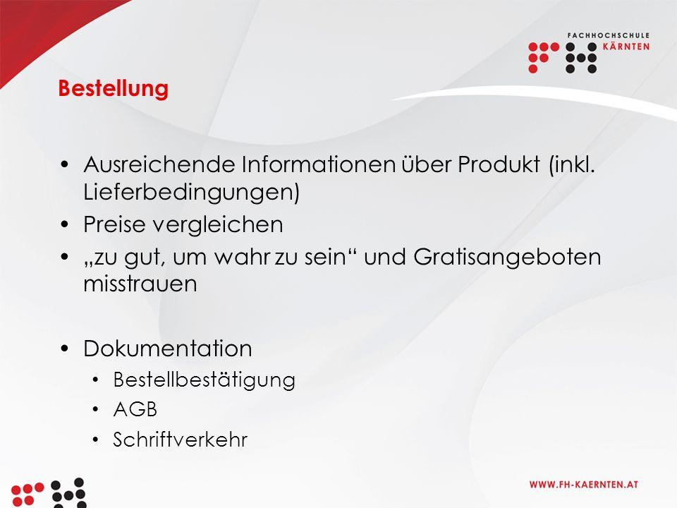 Bestellung Ausreichende Informationen über Produkt (inkl.