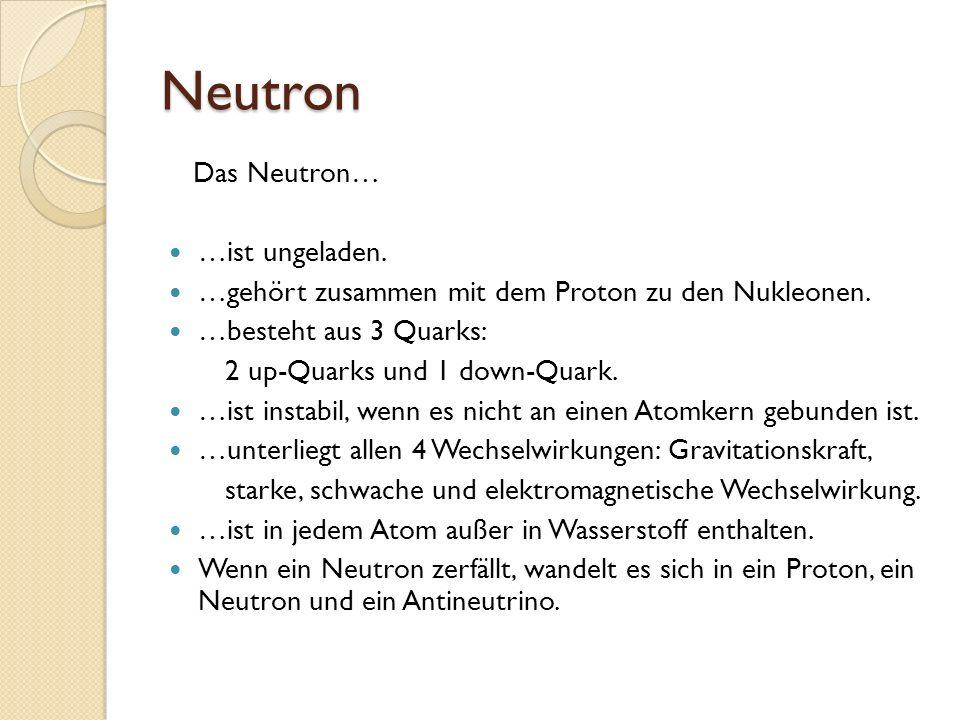 Neutron Das Neutron… …ist ungeladen. …gehört zusammen mit dem Proton zu den Nukleonen. …besteht aus 3 Quarks: 2 up-Quarks und 1 down-Quark. …ist insta