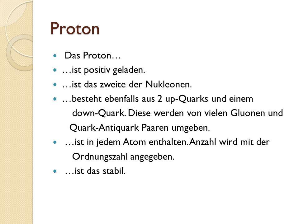 Proton Das Proton… …ist positiv geladen. …ist das zweite der Nukleonen. …besteht ebenfalls aus 2 up-Quarks und einem down-Quark. Diese werden von viel