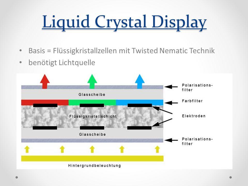Liquid Crystal Display Basis = Flüssigkristallzellen mit Twisted Nematic Technik benötigt Lichtquelle