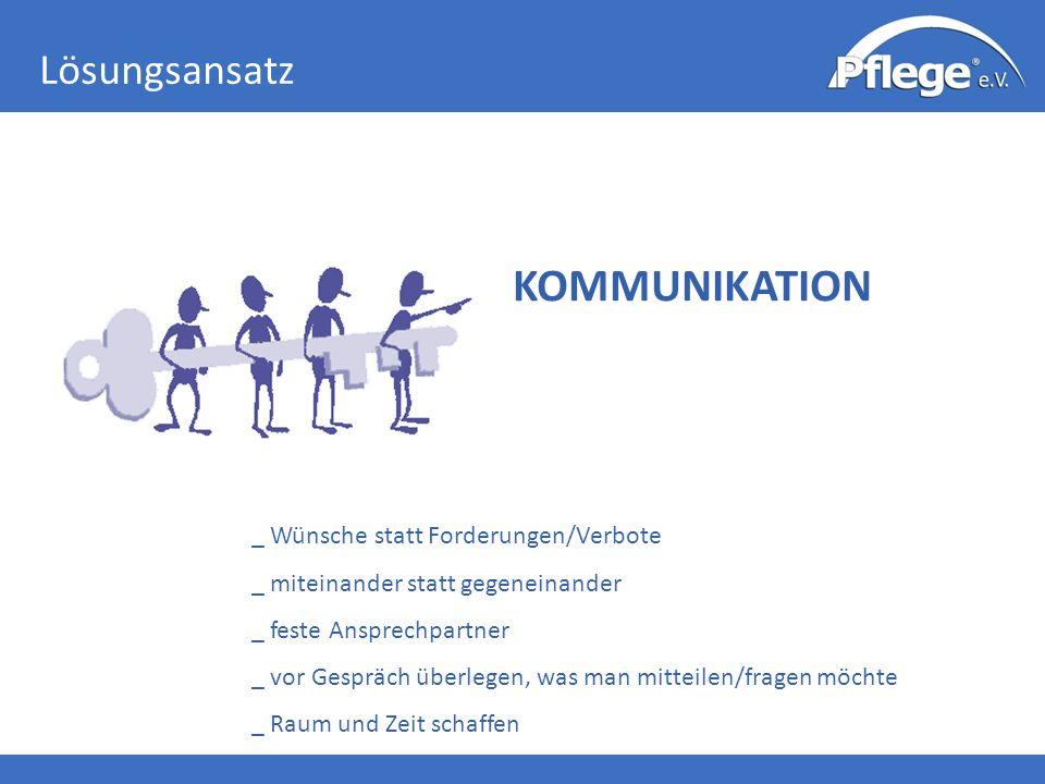 Lösungsansatz KOMMUNIKATION _ Wünsche statt Forderungen/Verbote _ miteinander statt gegeneinander _ feste Ansprechpartner _ vor Gespräch überlegen, wa