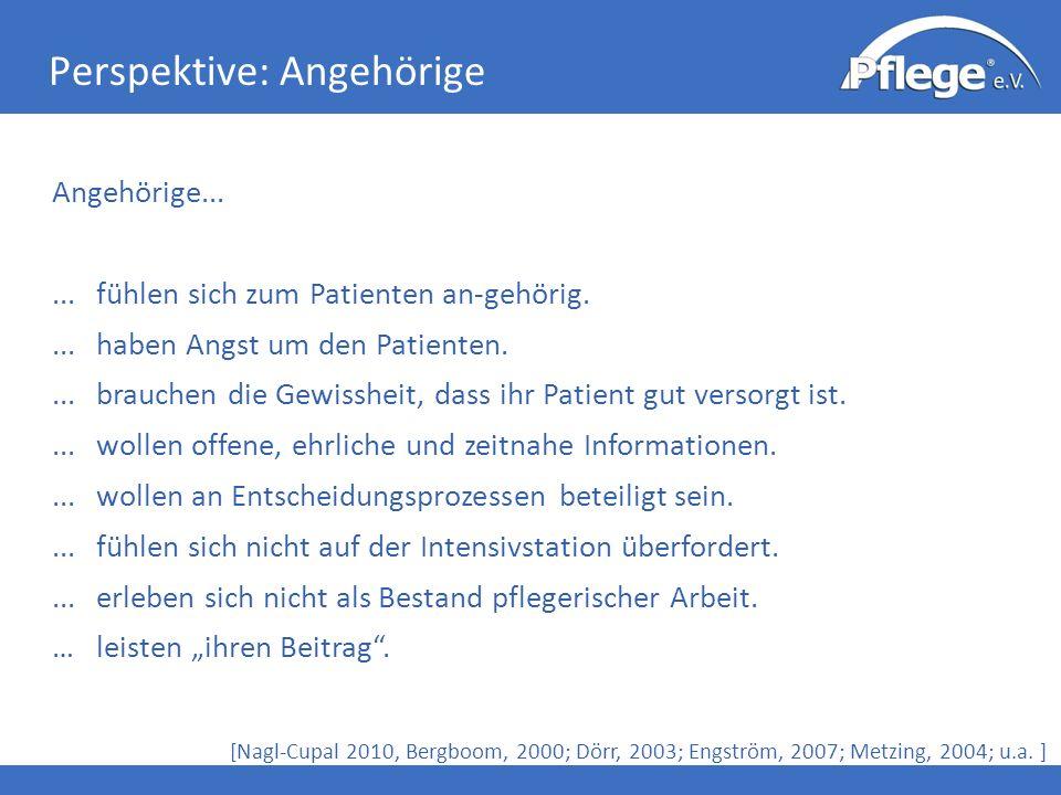 Perspektive: Angehörige [Nagl-Cupal 2010, Bergboom, 2000; Dörr, 2003; Engström, 2007; Metzing, 2004; u.a. ] Angehörige......fühlen sich zum Patienten