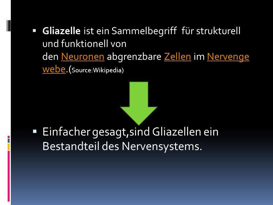 Gliazelle ist ein Sammelbegriff für strukturell und funktionell von den Neuronen abgrenzbare Zellen im Nervenge webe.( Source:Wikipedia)NeuronenZellen