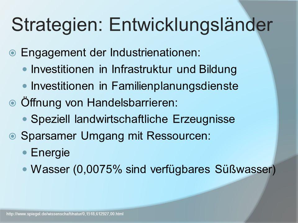 Engagement der Industrienationen: Investitionen in Infrastruktur und Bildung Investitionen in Familienplanungsdienste Öffnung von Handelsbarrieren: Sp