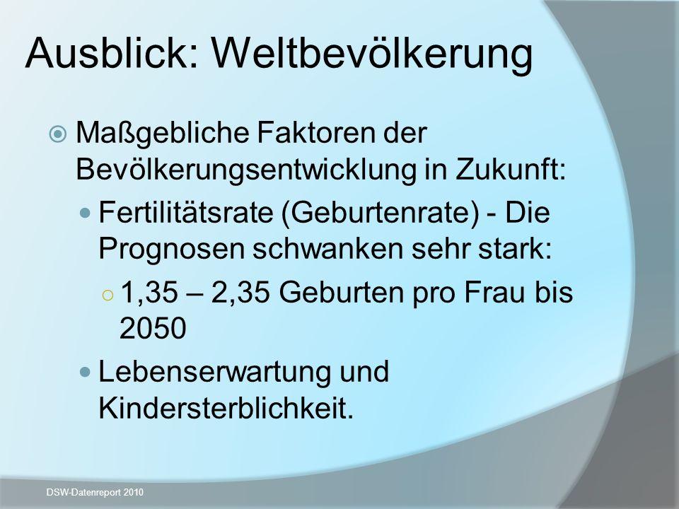 Ausblick: Weltbevölkerung Maßgebliche Faktoren der Bevölkerungsentwicklung in Zukunft: Fertilitätsrate (Geburtenrate) - Die Prognosen schwanken sehr s