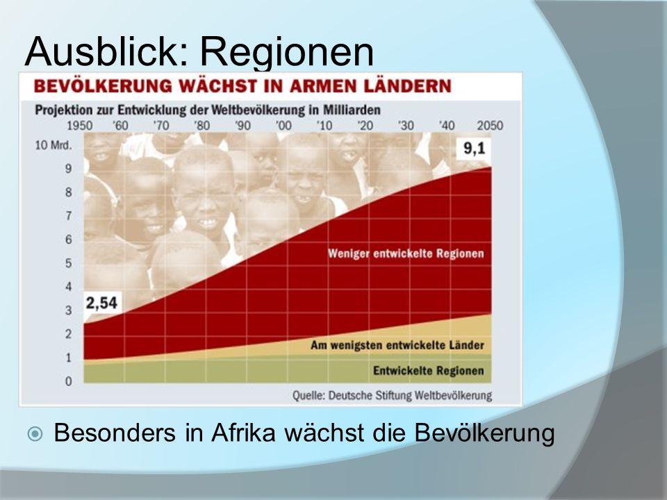 Ausblick: Regionen Besonders in Afrika wächst die Bevölkerung