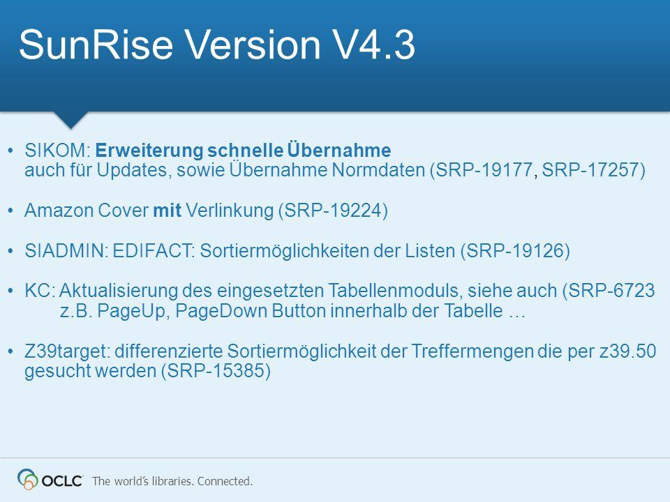 The worlds libraries. Connected. SIKOM: Erweiterung schnelle Übernahme auch für Updates, sowie Übernahme Normdaten (SRP-19177, SRP-17257) Amazon Cover