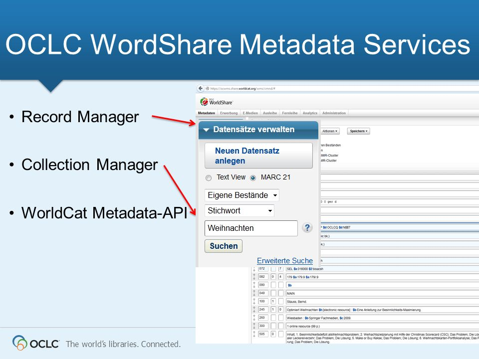 The worlds libraries. Connected. OCLC WordShare Metadata Services Record Manager Collection Manager WorldCat Metadata-API