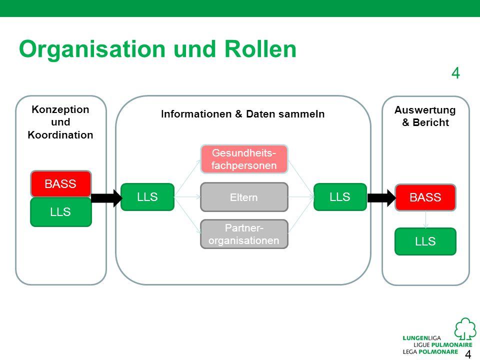 4 Konzeption und Koordination 4 Organisation und Rollen BASS LLS Informationen & Daten sammeln Gesundheits- fachpersonen Eltern Partner- organisatione