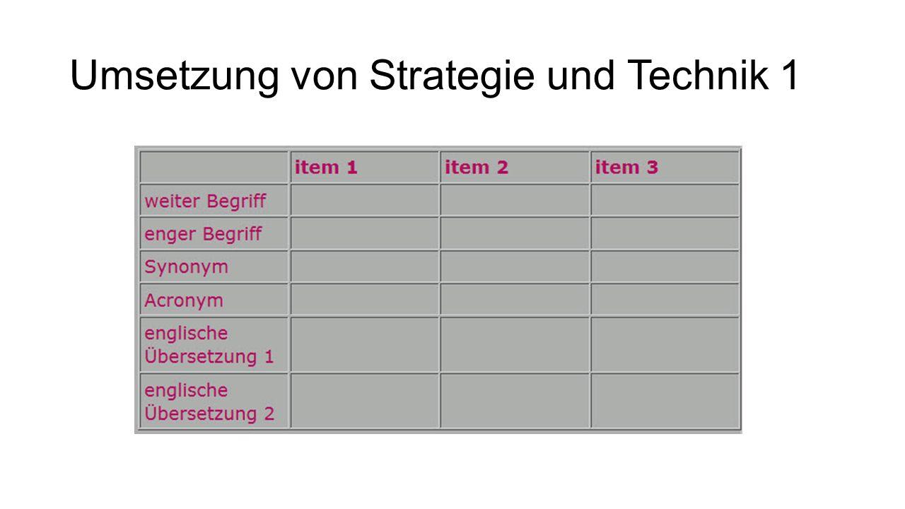 Umsetzung von Strategie und Technik 1